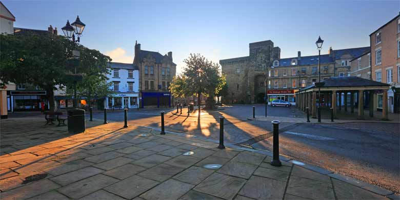 Hexham Market Place, Moot Hall and Shambles at a summer sunrise