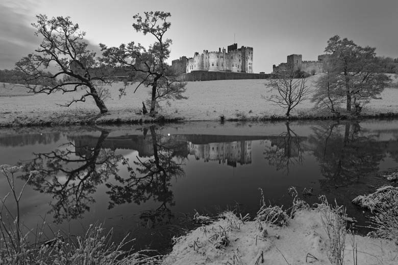Alnwick Castle Black and White, Northumberland